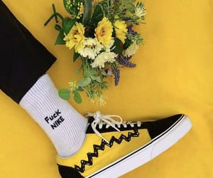 yellow, flowers, and vans image