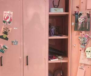 pink, locker, and school image