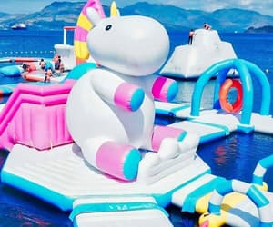 colorful, summer, and water park image