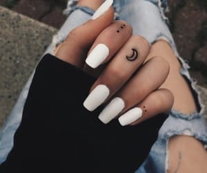 nails, tattoo, and moon image