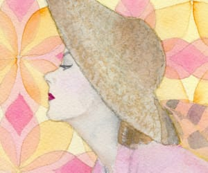 gouache, profile, and straw hat image