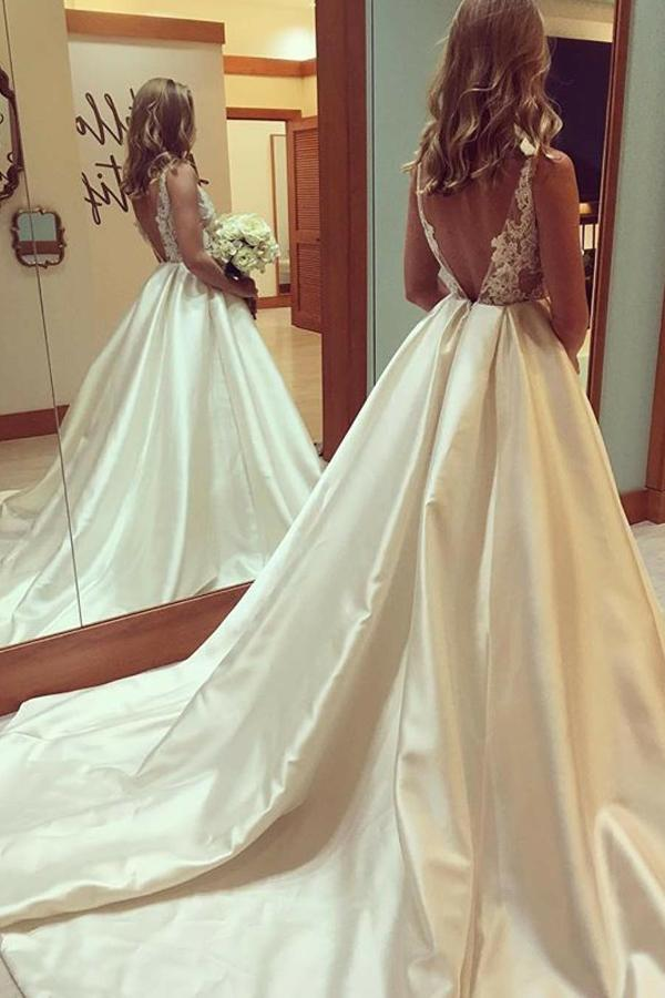 Ball Gown Wedding Dresses Vneck Open Back Sweep Train Lace Big Bridal Annapromdress,Outdoor Wedding Fall Wedding Guest Dresses 2020