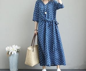 blue dress, etsy, and maxi dress summer image