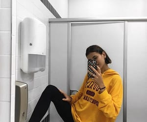 brunnete, yellow, and gurl image