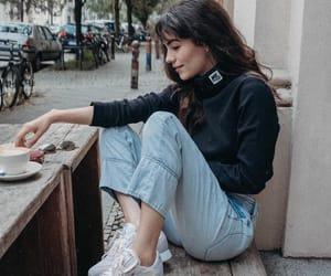 coffee, denim, and fashion image