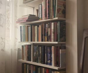 books, colour, and curtains image