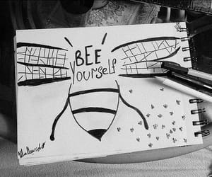 art, pen, and bee image
