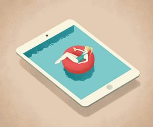 apple, pool, and women image