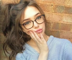 girl, glasses, and makeup image
