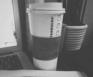 black and white, black and white photo, and coffee image