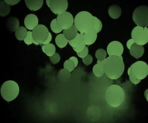 balloons, green, and night sky image