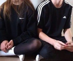 adidas, nike, and couple image