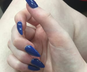 acrylic, blue, and blue nails image