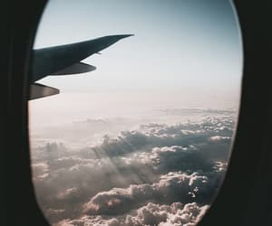 airplane, travel, and clouds image