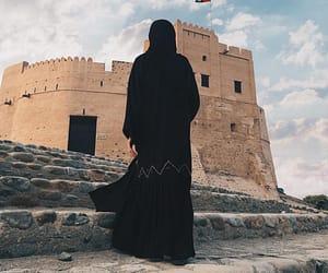 castle, hijab, and UAE image