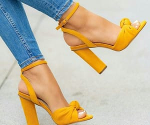 footwear, heels, and yellow image