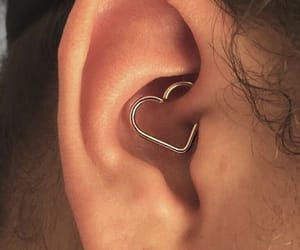 piercing, heart, and earrings image