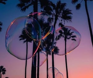 summer, bubbles, and sunset image