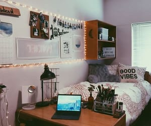college, string lights, and bed image