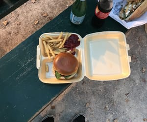 background, bench, and burger image