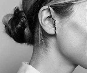 art, black and white, and earrings image