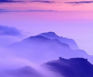 beautiful, mountains, and purple image