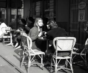 black and white, cafe, and vintage image