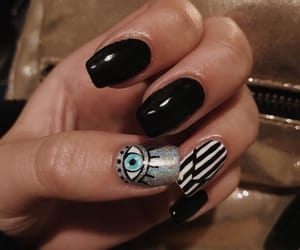 black, black and white, and black nails image