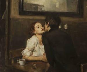 art, couple, and kiss image
