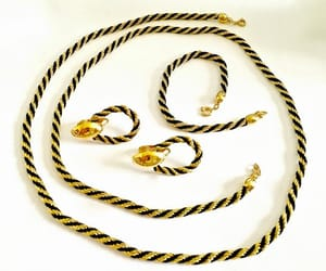 etsy, gold and black, and vintage jewelry image