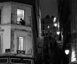 night, black and white, and paris image