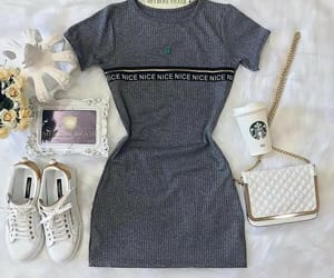 dress, handbag, and sneakers image