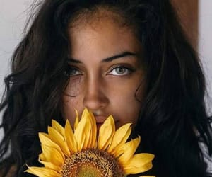 girl, beauty, and flowers image