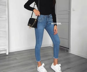 jeans, outfit, and black image