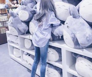 girl, light purple, and stuffed animals image