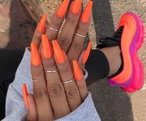 nails, orange, and shoes image