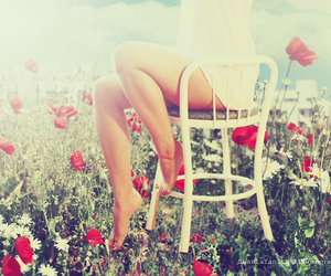 girl, flowers, and chair image