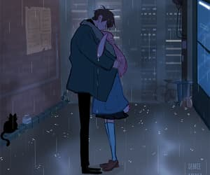 animation, city, and couple image