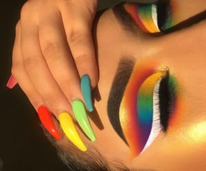 makeup, nails, and rainbow image