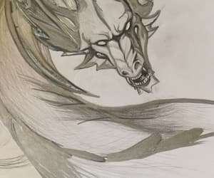 art, black and white, and dragon image
