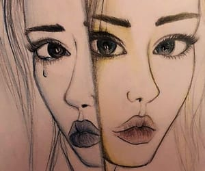 drawing, two faced, and girls image