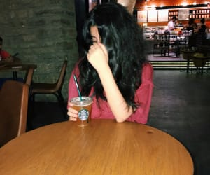 black hair, iced tea, and teenager image