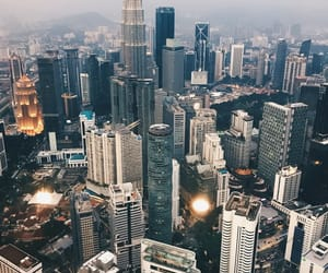 buildings, Malaysia, and travel image