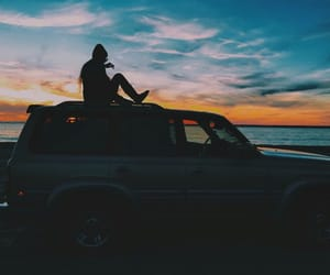 travel, girl, and sunset image