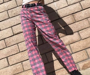 aesthetic, pink, and plaid image