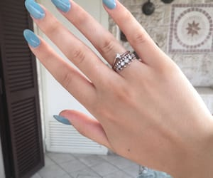 beauty, nail polish, and blue nails image