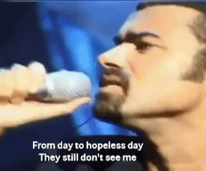george michael, gif, and hand to mouth image