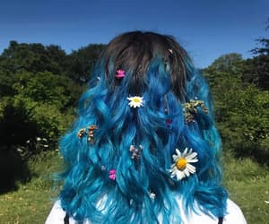 blue, flower, and hairblue image