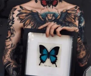 blue, butterfly, and tattoed man image