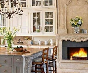 kitchen, fireplace, and home image